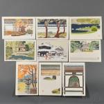 "Toshi Yoshida (1911-1995), Nine Color ""White Line"" Woodblock Prints, Japan, Tenryuji Garden, 1963 (Lot 1141, Estimate $2,000-$3,000)"