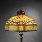 Tiffany Studios Curtain Border Floor Lamp, Mosaic art glass, bronze, New York, c. 1908 (Lot 139, Estimate $30,000-$50,000)
