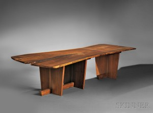 contemporary art furniture. George Nakashima (1905-1990), Two-piece Dining Table, American Walnut Contemporary Art Furniture