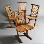 George Nakashima (1905-1990), Four Conoid Chairs, American black walnut, hickory, New Hope, Pennsylvania, 1975 (Lot 294, Estimate $16,000-$25,000)