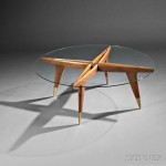 Gio Ponti (Italian, 1891-1979), Compass Table, Glass, walnut c. 1950 (Lot 361, Estimate $10,000-$15,000)