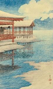 Kawase Hasui (1883-1957), Snow on a Clear Day at Miyajima, Japan, February 17, 1921 (Lot 25, Estimate $8,000-$10,000)