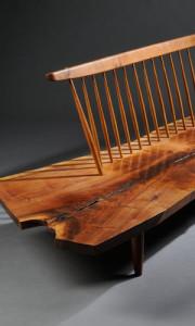George Nakashima (1905-1990) Conoid Bench, American black walnut and hickory, New Hope, Pennsylvania, 1973 (Estimate $30,000-$40,000)
