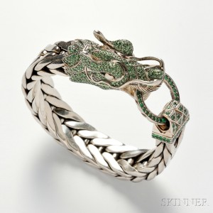 John Hardy 'Naga' Sterling Silver and Tsavorite Garnet Dragon Head Bracelet (Lot 1436, Estimate $800-  $1,200)