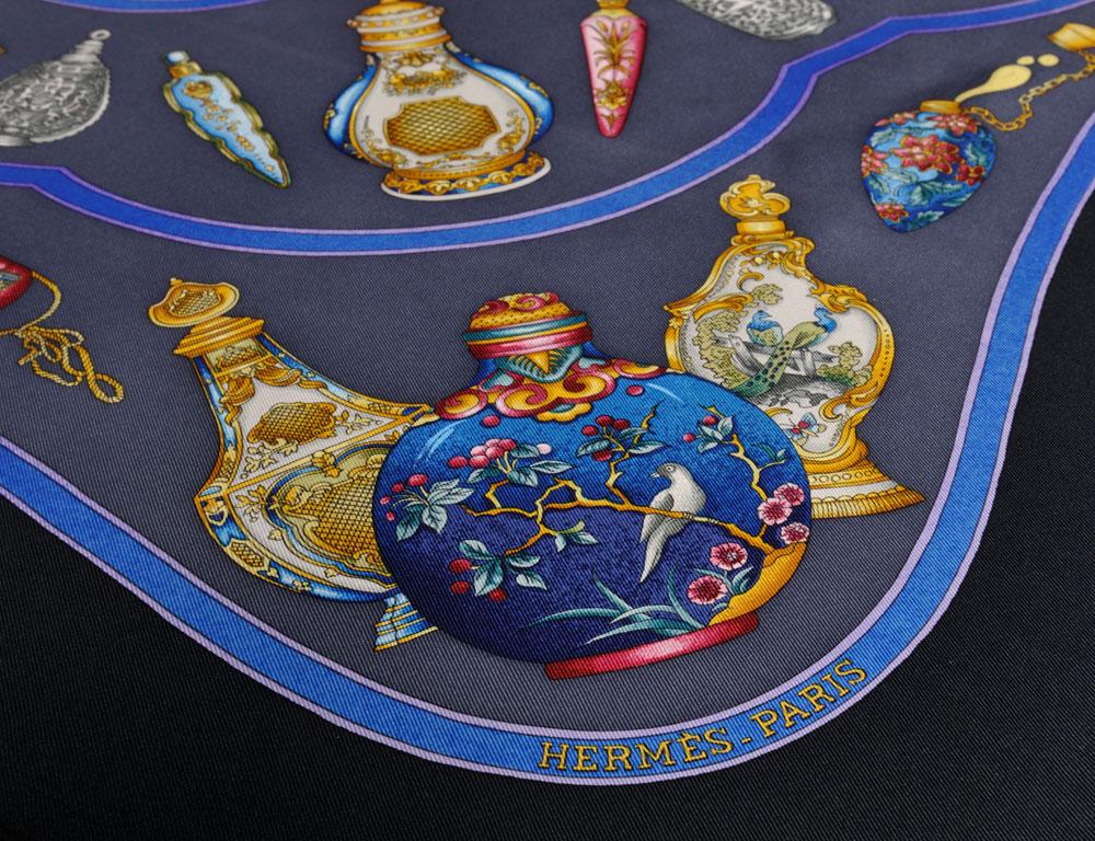 Hermes 'Qu'Import le Flacon' Silk Scarf (Estimate $200-$300)