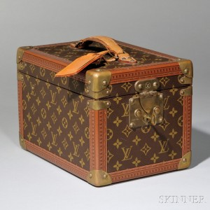 Louis Vuitton Leather and Brass-mounted Coated Canvas Hard-side Jewelry Travel Case (Lot 1604, Estimate   $800-$1,200)