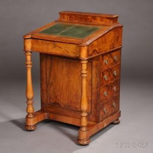 Walnut Veneer and Bird's-eye Maple Davenport Desk, England, 19th century (Lot 205, Estimate $1,400-$1,625)