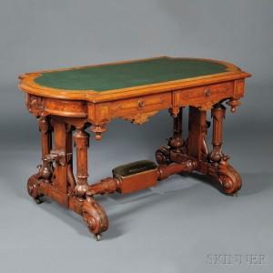 Renaissance Revival Carved Walnut and Walnut Veneer Center Table (Lot 1134, Estimate $800-$1,200)