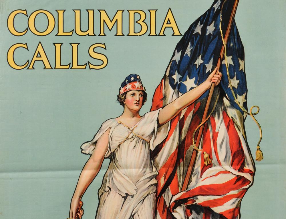 V. Aderente Columbia Calls U.S. WWI Lithograph Poster (Lot 1035, Estimate $300-$500)