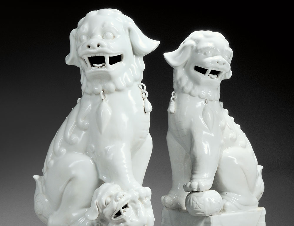 Pair of Blanc-de-chine Buddhist Lions, China (Lot 180, Estimate $400-$600)