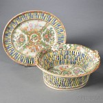 Rose Medallion Reticulated Porcelain Fruit Bowl and Undertray, China, 19th century (Lot 1064, Estimate $400-$600)