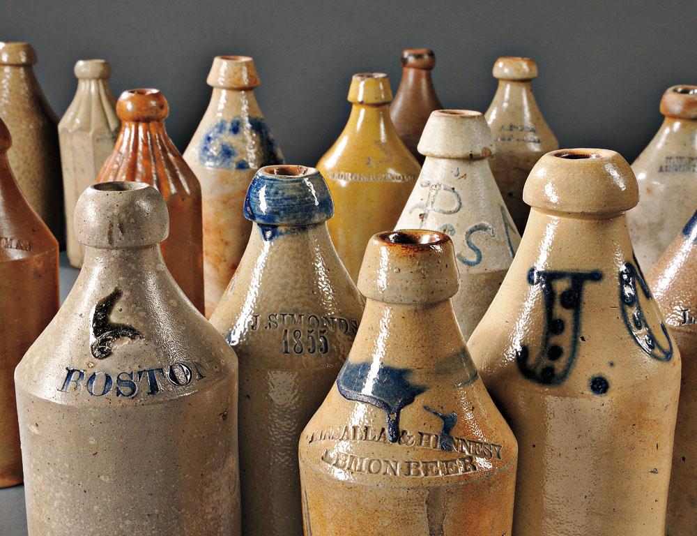 Seventeen Stoneware Bottles, mostly America, mid-19th century (Estimate $800—$1200)