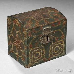 "Small Paint-decorated Poplar Dome-top Box, attributed to the ""Compasswork Decorator,"" Lancaster County, Pennsylvania, 1800-40 (Lot 100, Estimate $4,000-$6,000)"