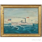 American School, Mid-19th Century, Portrait of the Paddlewheel Steamer Ansonia (Lot 229, Estimate $4,000-$6,000)