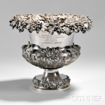 The Morgan Cup Sterling Silver Repousse Wine Cooler Awarded to the Schooner Sachem, London, England,   c. 1887 (Lot 422, Estimate $5,000-$7,000)